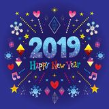 Happy New Year 2019 greeting card. It`s really great Stock Photography