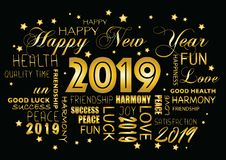 Happy New year 2019 greeting card. Tagcloud  - tagcloud stock illustration