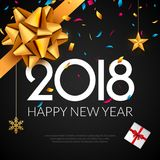 Happy New Year 2018 greeting card. Holiday flyer or poster gold luxury background for new year christmas celebration.  stock illustration