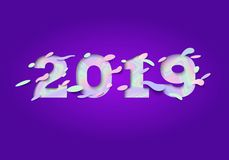 2019 Happy New Year greeting card with holographic numbers on a purple background. Colorful 3d paper cut art. Stock Photo