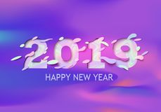 2019 Happy New Year greeting card with holographic numbers on a purple background. Vector illustration. Colorful 3d paper cut art Royalty Free Stock Images