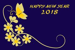 Happy New Year 2018 greeting card. Illustration with beautiful flower and butterfly in golden color. Picture with copy space Stock Images