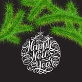Happy New Year 2018 greeting card,  illustration. Christmas trees brunches and lettering in circle tree toys. Gree. N brunches against grey background. Hand Stock Photography
