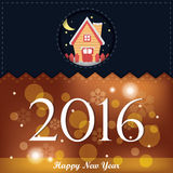Happy New Year 2016 Greeting Card. Illustration of sweet house in christmas eve for new year 2016 greeting card in dark blue orange with light bubble Stock Illustration
