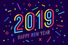 2019, Happy New Year. Greeting card Happy New Year 2019 Vector Illustration