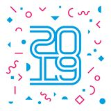 Happy New Year 2019. Greeting card with inscription 20 19. Holid. Ay poster or cover of calendar with lineart elements and geometric shapes vector illustration