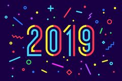 2019, Happy New Year. Greeting card Happy New Year 2019 Stock Photos