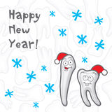 Happy New Year greeting card inscriptions for the. Dentist, vector illustration Royalty Free Stock Photos