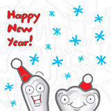 Happy New Year greeting card inscriptions for the. Dentist, vector illustration Royalty Free Stock Photo