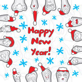 Happy New Year greeting card inscriptions for the. Dentist, vector illustration royalty free illustration