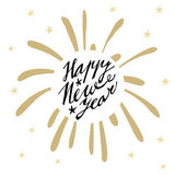 Happy New Year greeting card, invitation with handwritten text, hand drawn firework, stars Stock Photography