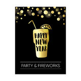 Happy new year greeting card, invitation. Poster with golden glass of drink, hand lettered text and sparkling background. Festiv Royalty Free Stock Photos