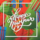 Happy New Year greeting card with lettering. New year hand lettering and cartoon red green blue elements. Happy New Year greeting card with hand drawn text Royalty Free Stock Images