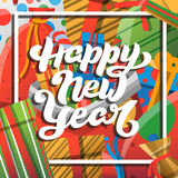 Happy New Year greeting card with lettering. New year hand lettering and cartoon red green blue elements. Happy New Year greeting card with hand drawn text Stock Photo