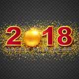 2018 Happy New Year greeting card with light, colored text Desig. N on background. Vector illustration Stock Image