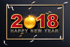 2018 Happy New Year greeting card with light, colored text Desig. N on background texture . Vector illustration Stock Photography