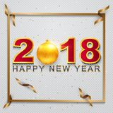 2018 Happy New Year greeting card with light, colored text Desig. N on background texture . Vector illustration Royalty Free Stock Photography
