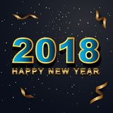 2018 Happy New Year greeting card with light, colored text Desig. N on background texture . Vector illustration Stock Photos