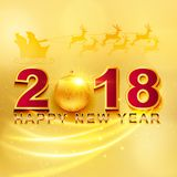 2018 Happy New Year greeting card with light, colored text Desig. N on gold background. Vector illustration Stock Photo