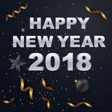2018 Happy New Year greeting card with light, colored text. 2018 Happy New Year greeting card with light, colored text Design on background texture . Vector Stock Photos