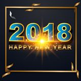 2018 Happy New Year greeting card with light, colored text Desig. N on background texture . Vector illustration Royalty Free Stock Photos