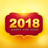2018 Happy New Year greeting card with light, colored text Desig. N on gold background. Vector illustration Royalty Free Stock Images
