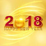 2018 Happy New Year greeting card with light, colored text Desig. N on gold background. Vector illustration Royalty Free Stock Photos