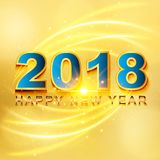 2018 Happy New Year greeting card with light, colored text Desig. N on gold background. Vector illustration Stock Images
