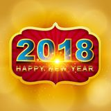 2018 Happy New Year greeting card with light, colored text Desig. N on gold background. Vector illustration Stock Image