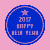 Happy New Year 2017 Greeting Card made of pink mosaic particles Stock Photos