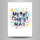 2018 Happy New Year. Greeting card. Merry Christmas Lettering. Greeting card. Hand drawn  elements. White background. Colorful design Stock Image