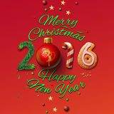 Happy New Year 2016 Greeting Card and Merry. Christmas, vector illustration royalty free illustration