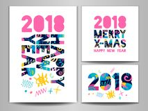 2018 Happy New Year. Greeting card. Happy New Year, Merry X-mas Lettering. Greeting card. Hand drawn  elements. White background. Colorful design Stock Image