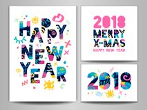 2018 Happy New Year. Greeting card. Happy New Year, Merry X-mas Lettering. Greeting card. Hand drawn  elements. White background. Colorful design Stock Images
