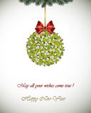 Happy New Year greeting card - Mistletoe Royalty Free Stock Image