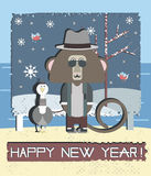 Happy New Year Greeting Card With Monkey and Gull bird Royalty Free Stock Images