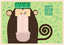 Happy New Year greeting card. With monkey for travel people vector illustration