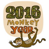 Happy New Year greeting card. Monkey year title. Hand drawn digits and letters isolated on background. Vector illustration Royalty Free Stock Photo