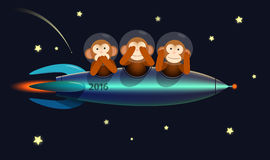 Happy New Year greeting card monkeys 2016. No see no speak no hear three wise monkeys on the spaceship rocket 2016 Happy New Year greeting card Royalty Free Stock Photos