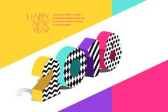 Happy New Year 2018  greeting card with multicolor numbers in 3d isometric style. Royalty Free Stock Photography
