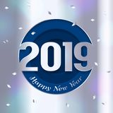 2019 Happy New Year greeting card. Numbers cutted from silver paper and confetti on background. Vector. 2019 Happy New Year greeting card. Numbers cutted from royalty free illustration