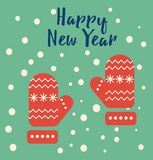 Happy new year greeting card. With the pair of red mitten and congratulation text. Cool design and holiday greeting concept. Flat vector illustration Royalty Free Stock Photos