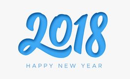 Happy New Year 2018 greeting card with paper cut. Digits on white background. Vector carving art style illustration for invitation, calendar or banner template Stock Photo