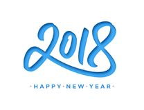 Happy New Year 2018 greeting card with paper cut. Digits on white background. Vector carving art style illustration for invitation, calendar or banner template Royalty Free Stock Photos