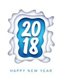 Happy New Year 2018 greeting card with paper cut. Happy New Year 2018 greeting card with white paper cut digits in frame over blue background. Vector carving art stock illustration