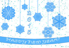 Happy New Year 2015. Greeting card 2015. Paper snowflakes blue on a white background Royalty Free Illustration
