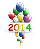 Happy new year 2014 greeting card with party balloons Stock Image