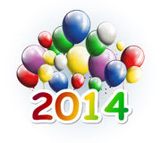 Happy new year 2014 greeting card with party balloons Royalty Free Stock Photography