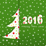 2016 Happy New year. Greeting card. Pattern with Christmas tree and snowflakes on green background. For Web, Websites, Print, Mobile Applications And Stock Photo