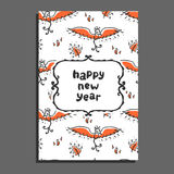 Happy new year greeting card with phoenix and flames. Stock Image